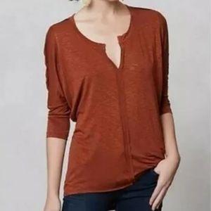 Anthropologie Dolan V-neck Shirt M Rust